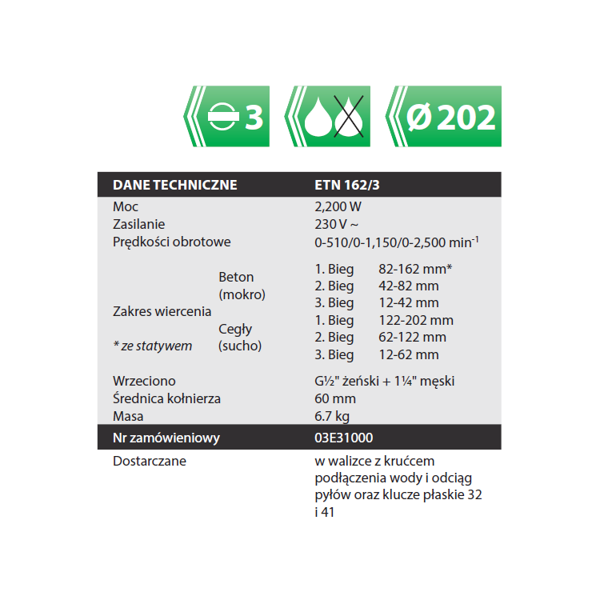 Wiertnica Eibenstock Zestaw DBE 162 do fi 162mm max. fi 202mm